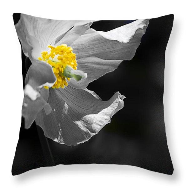 White Poppy Throw Pillow by Svetlana Sewell