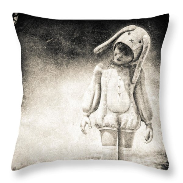 White Rabbit Throw Pillow by Bob Orsillo