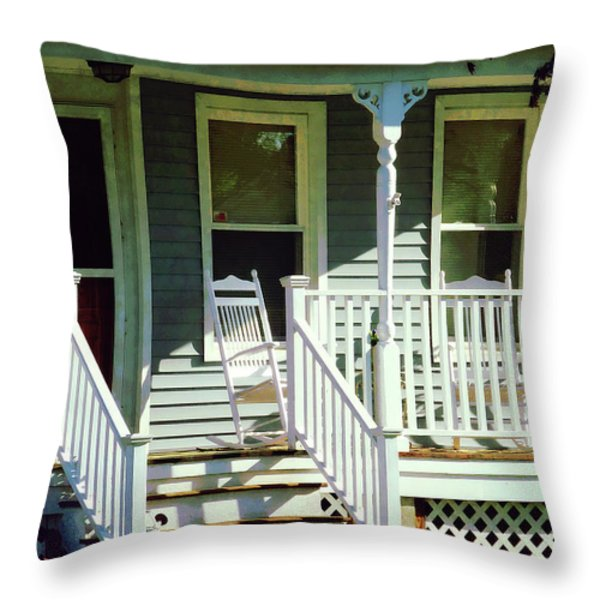 White Rocking Chairs Throw Pillow by Susan Savad