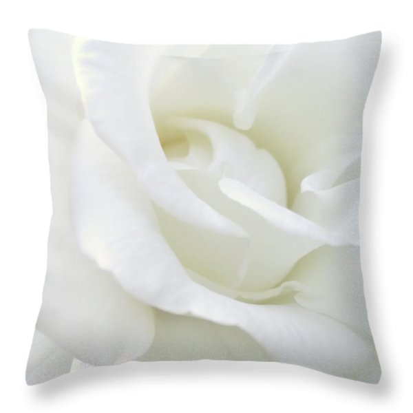 White Rose Angel Wings Throw Pillow by Jennie Marie Schell