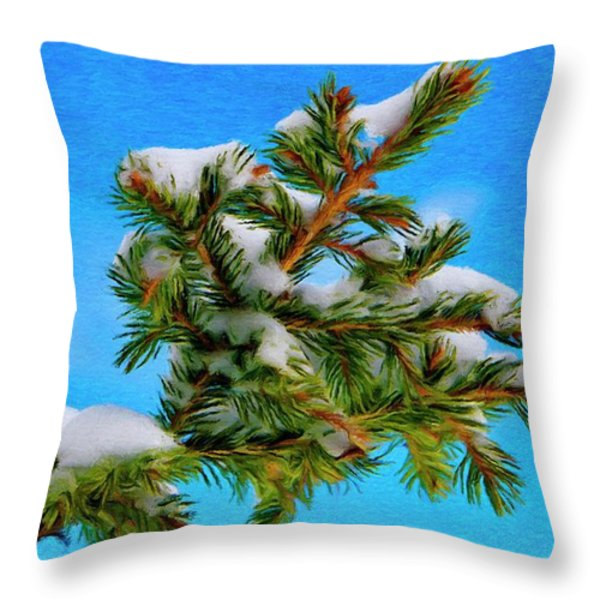 White Snow On Evergreen Throw Pillow by Jeff Kolker