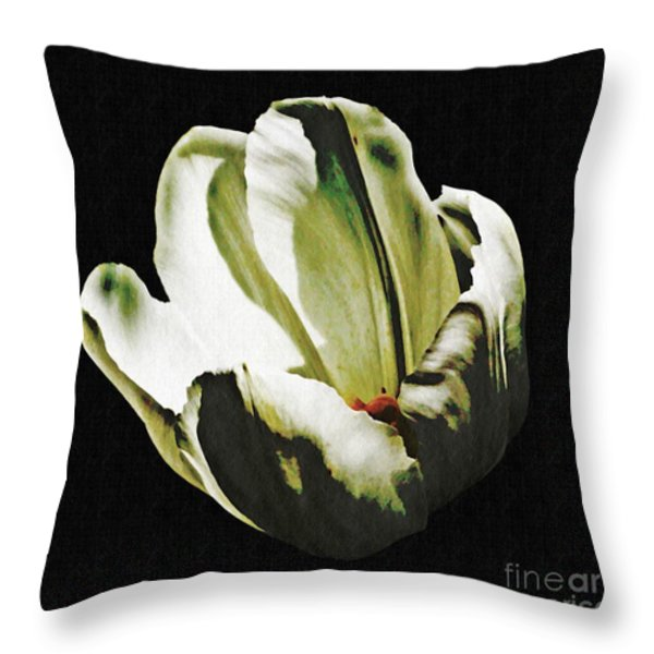 White Tulip Throw Pillow by Sarah Loft
