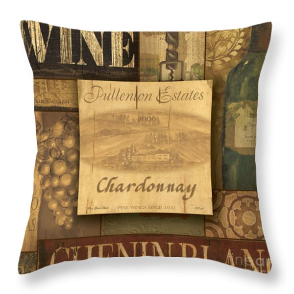 White Wine Collage Throw Pillow by Grace Pullen