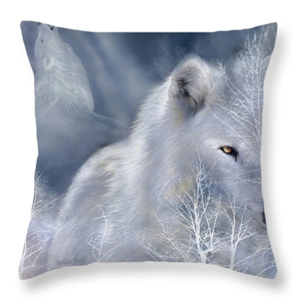 White Wolf Throw Pillow by Carol Cavalaris