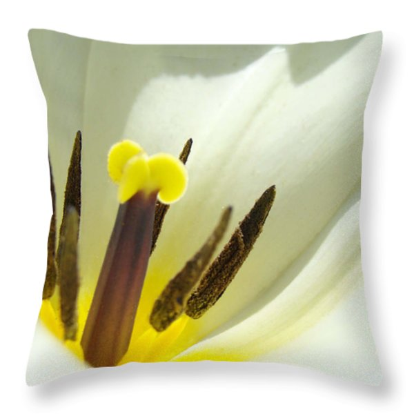 White Yellow Tulip Flower Fine Art Prints Throw Pillow by Baslee Troutman