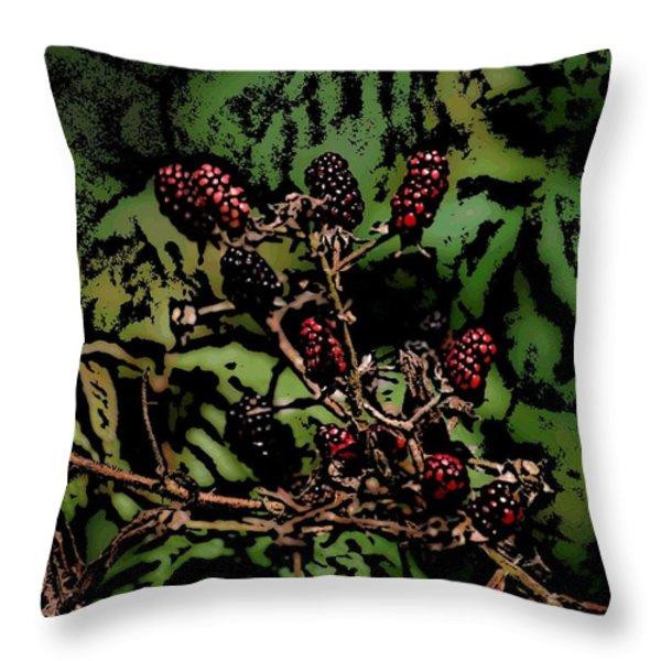 Wild Berries Throw Pillow by David Lane