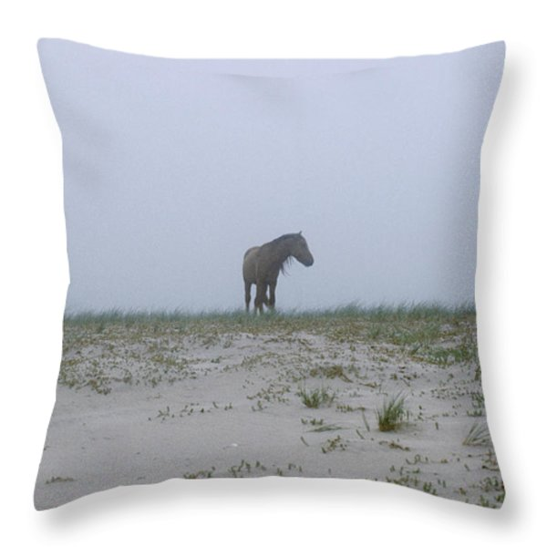Wild Horses In The Sand Dunes On Sable Throw Pillow by Justin Guariglia