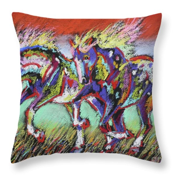Wild Pastel Ponies Throw Pillow by Louise Green