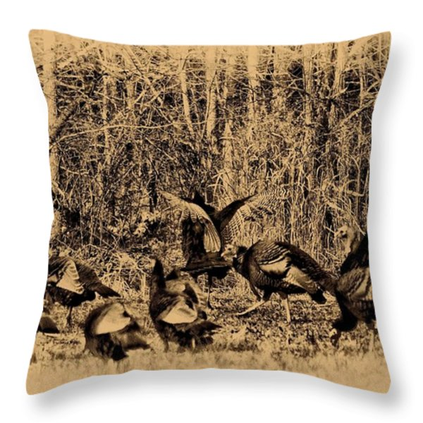 Wild Turkeys Throw Pillow by Bill Cannon