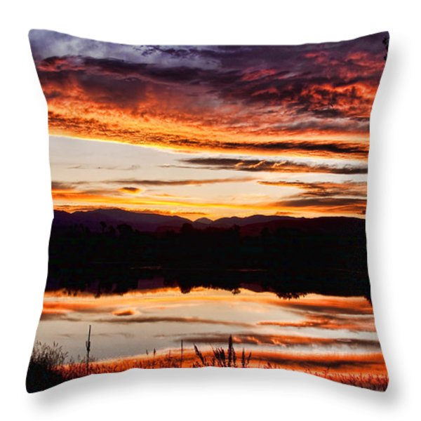 Wildfire Sunset Reflection Image 28 Throw Pillow by James BO  Insogna