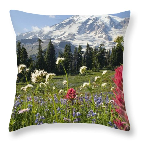 Wildflowers In Mount Rainier National Throw Pillow by Dan Sherwood