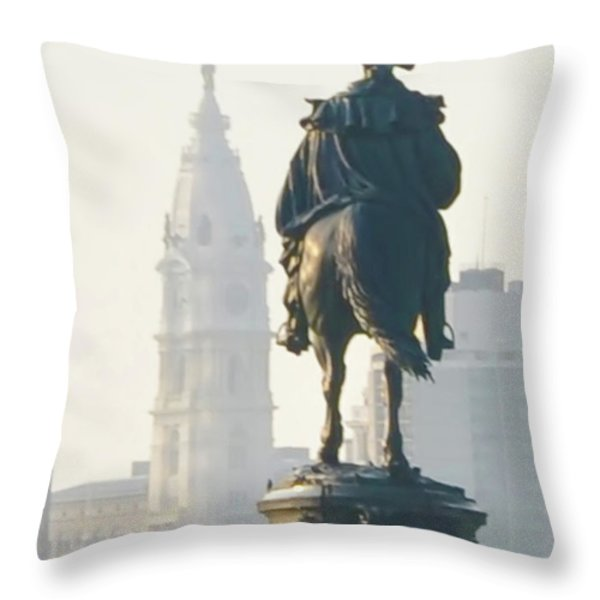 William Penn and George Washington - Philadelphia Throw Pillow by Bill Cannon