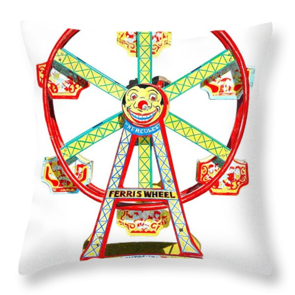 Wind-up Ferris Wheel Throw Pillow by Glenda Zuckerman