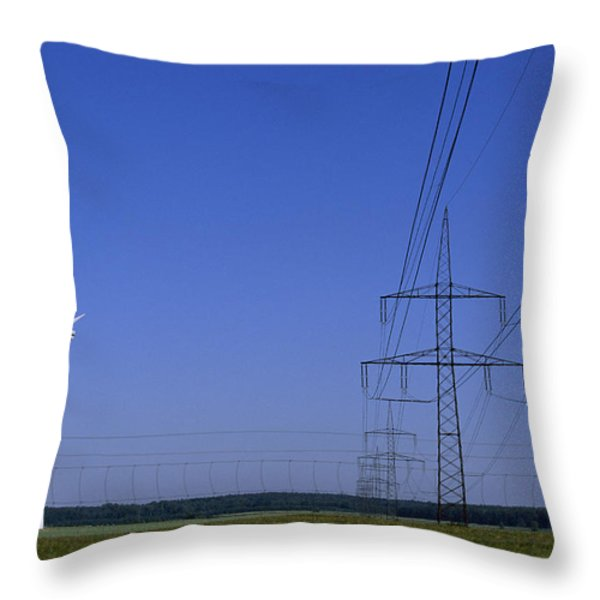 Windmills And High Voltage Transmission Throw Pillow by Norbert Rosing