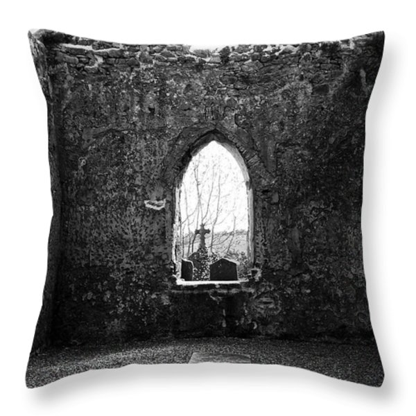 Window at Fuerty Church Roscommon Ireland Throw Pillow by Teresa Mucha