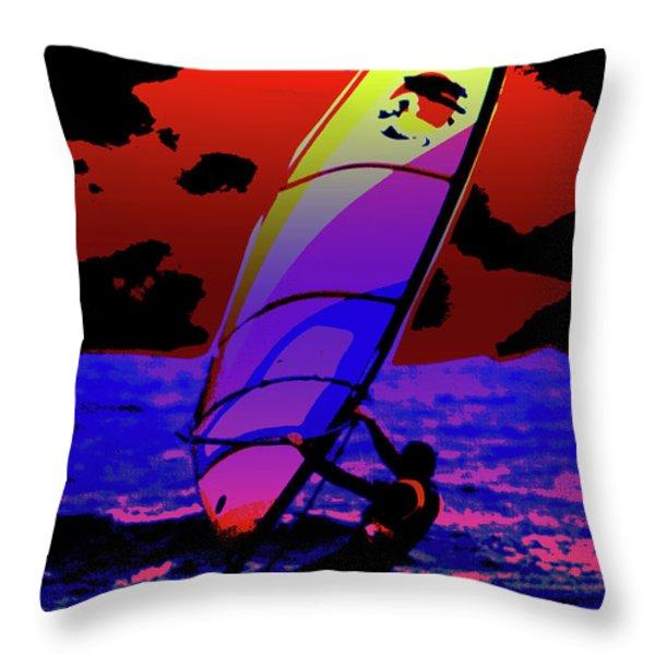 Windsurfer Throw Pillow by Brian Roscorla