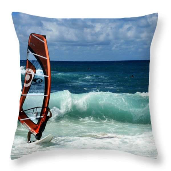 Windsurfing Hookipa Throw Pillow by Sharon Mau