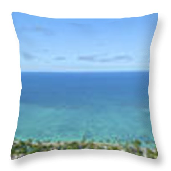 Windward Oahu Panoramic Throw Pillow by David Cornwell/First Light Pictures, Inc - Printscapes