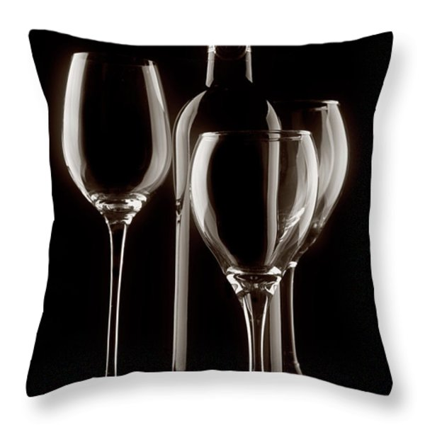 Wine Bottle and Wineglasses Silhouette II Throw Pillow by Tom Mc Nemar