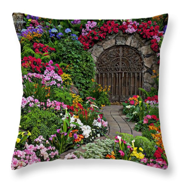Wine celler gates  Throw Pillow by Garry Gay