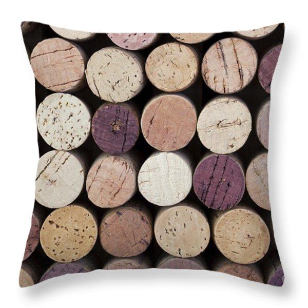 Wine corks  Throw Pillow by Jane Rix