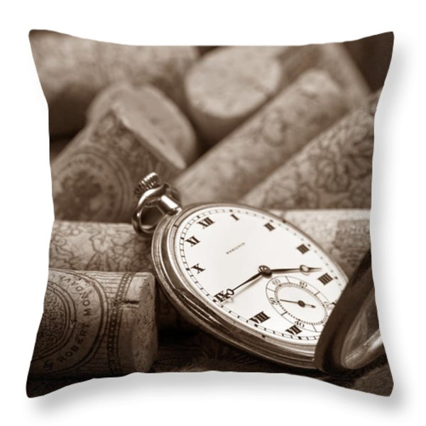 Wine Corks Still Life Vi Aged To Perfection Throw Pillow by Tom Mc Nemar