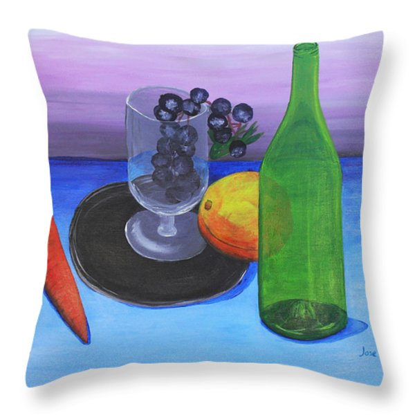 Wine glass and fruits Throw Pillow by Jose Valeriano