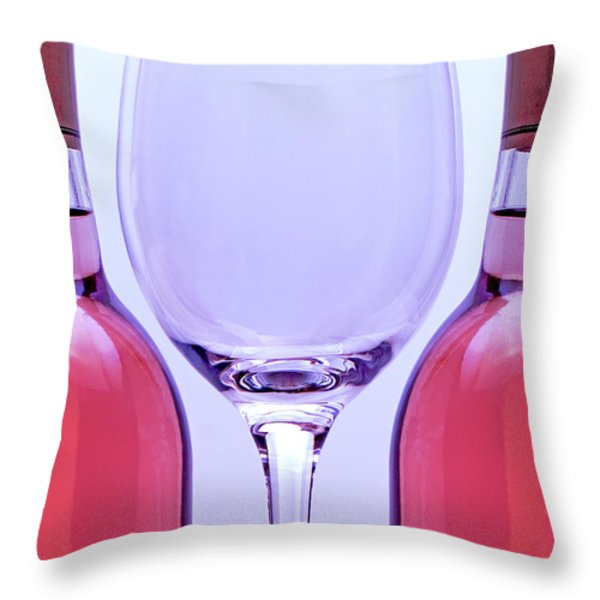 Wineglass and Bottles Throw Pillow by Tom Mc Nemar