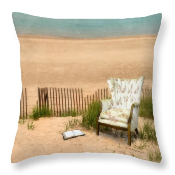 Wingback Chair At The Beach Throw Pillow by Jill Battaglia