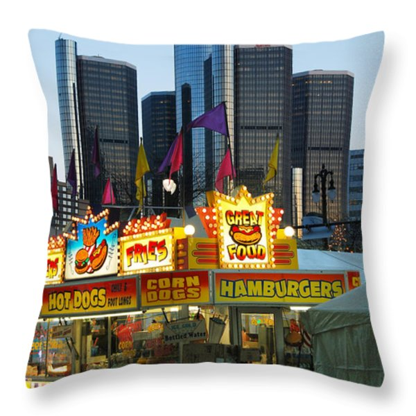 Winter Blast in Detroit Throw Pillow by Michael Peychich
