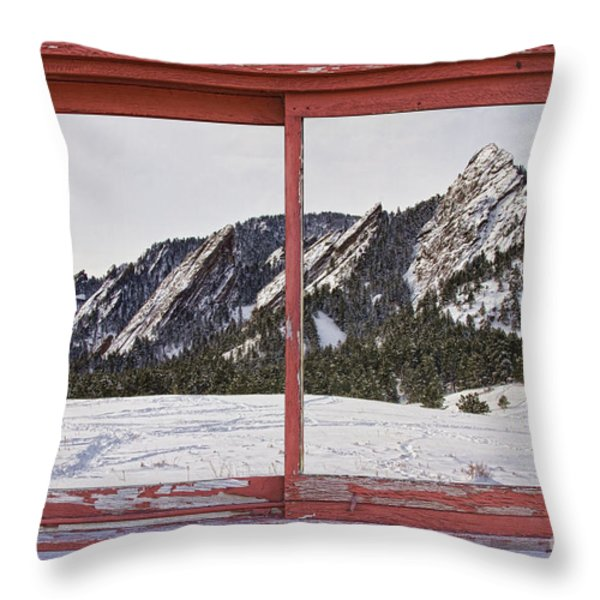 Winter Flatirons Boulder Colorado Red barn Picture Window Frame  Throw Pillow by James BO  Insogna