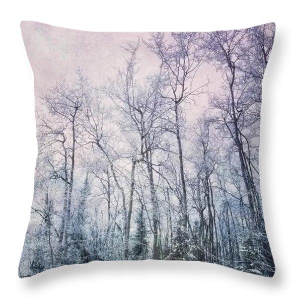 winter forest Throw Pillow by Priska Wettstein