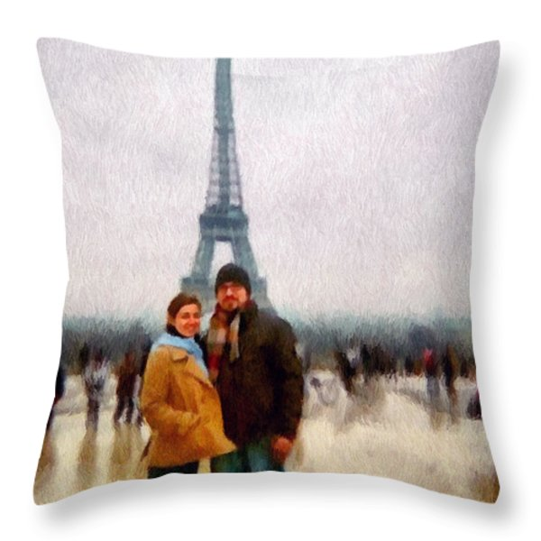 Winter Honeymoon In Paris Throw Pillow by Jeff Kolker