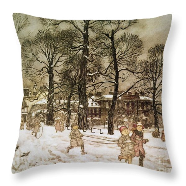 Winter In Kensington Gardens Throw Pillow by Arthur Rackham