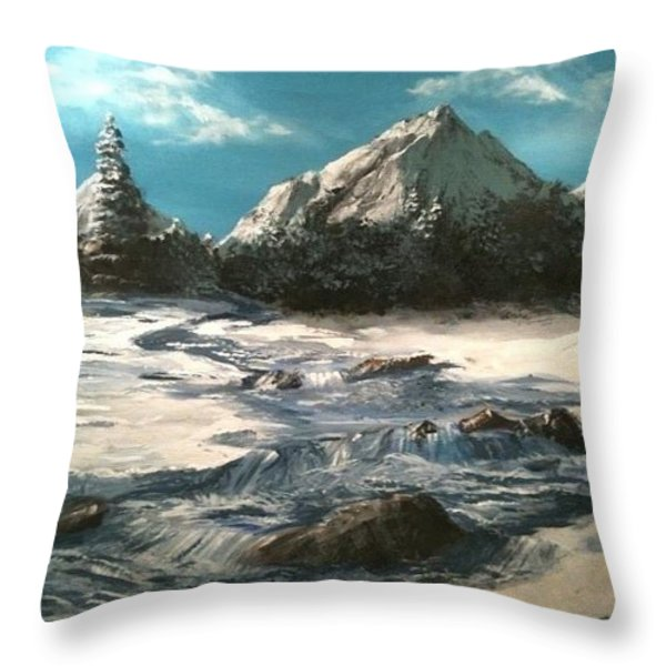 Winter Mountain Stream Throw Pillow by Jack Skinner