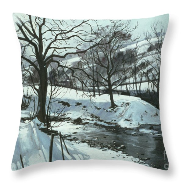 Winter River Throw Pillow by John Cooke