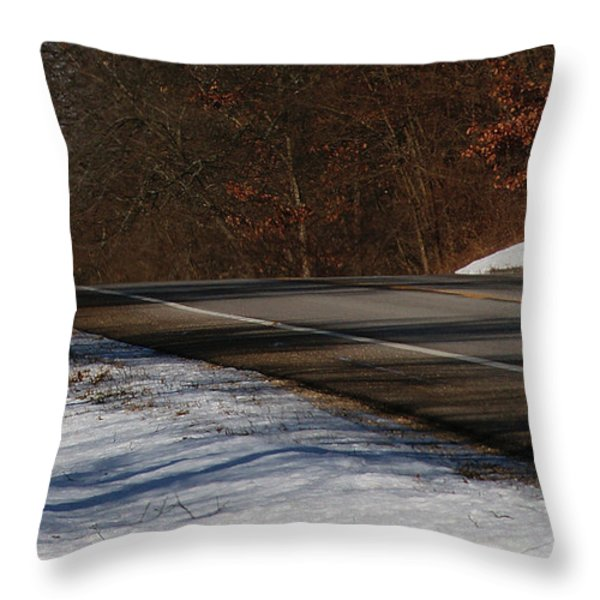 Winter Run Throw Pillow by Linda Knorr Shafer