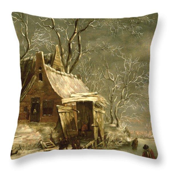 Winter Scene Throw Pillow by Jan Beerstraten