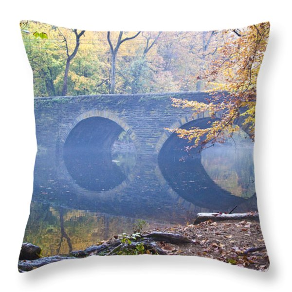 Wissahickon Creek At Bells Mill Rd. Throw Pillow by Bill Cannon