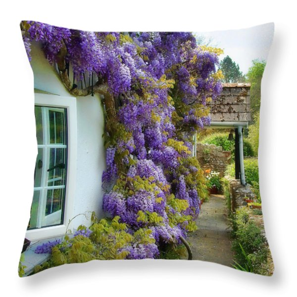 Wisteria Welcome Throw Pillow by Susie Peek