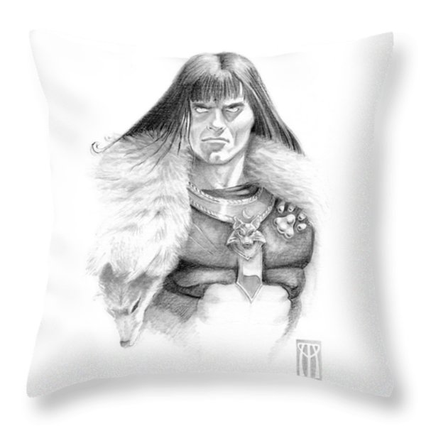 Wolf Barbarian Throw Pillow by Melissa A Benson