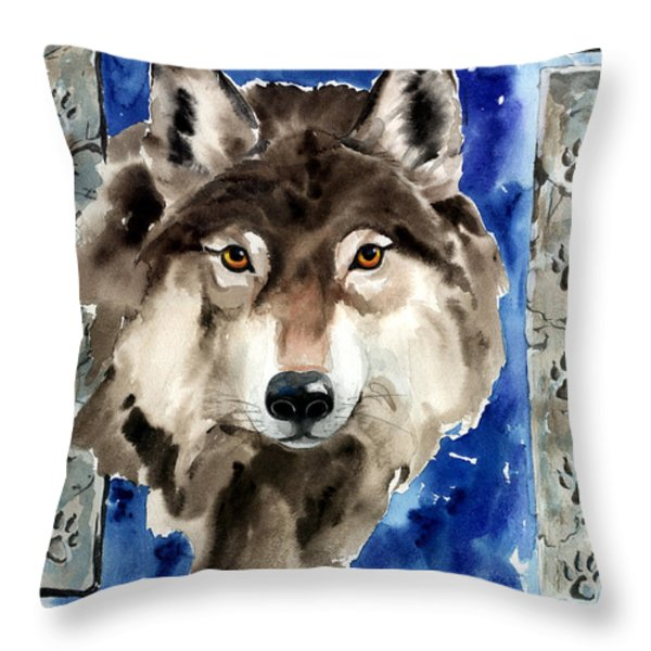 Wolf Throw Pillow by Nadi Spencer