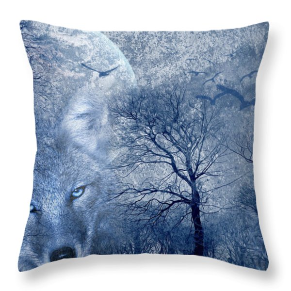 Wolf Throw Pillow by Svetlana Sewell