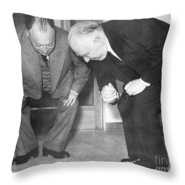 Wolfgang Pauli and Niels Bohr Throw Pillow by Margrethe Bohr Collection and AIP and Photo Researchers