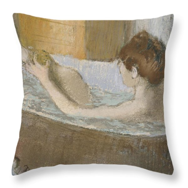 Woman In Her Bath Throw Pillow by Edgar Degas
