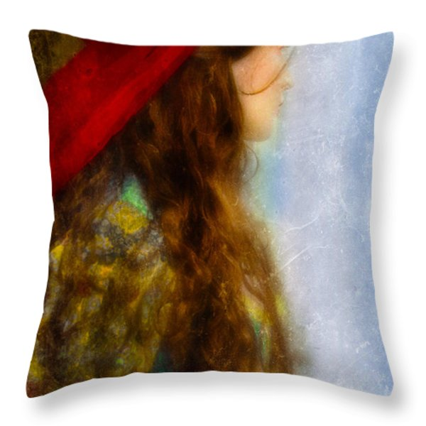 Woman in Medieval Gown Throw Pillow by Jill Battaglia