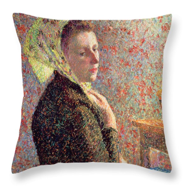 Woman Wearing A Green Headscarf Throw Pillow by Camille Pissarro