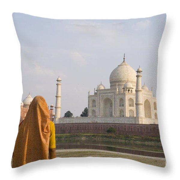 Women at Taj Mahal Throw Pillow by Bill Bachmann - Printscapes