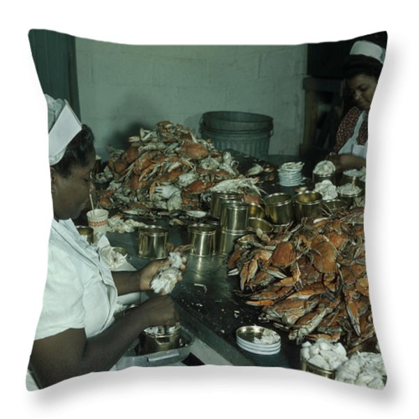 Women Pick And Pack Crab Meat Into Cans Throw Pillow by Robert Sisson
