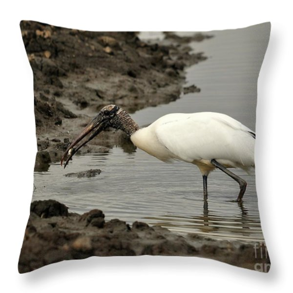 Wood Stork With Fish Throw Pillow by Al Powell Photography USA